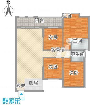 昌厦・御座126.32㎡E户型3室2厅2卫1厨