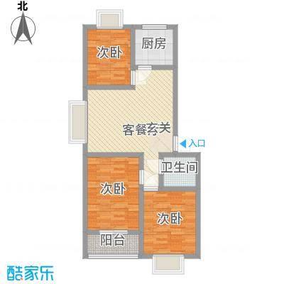 普兰银河花园7号楼标准层香居户型3室2厅1卫1厨