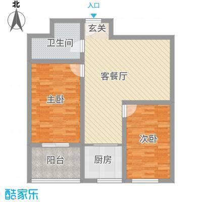 贵通润园b-D户型2室2厅1卫1厨