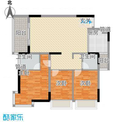 海韵华庭121.54㎡1号楼06型户型3室2厅2卫1厨