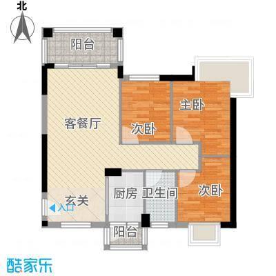 江南豪苑88.00㎡二期C、D栋01、02户型3室2厅1卫