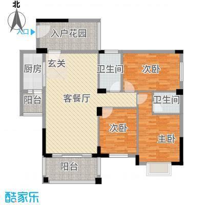 江南豪苑117.51㎡二期A栋03、B栋04户型3室2厅2卫