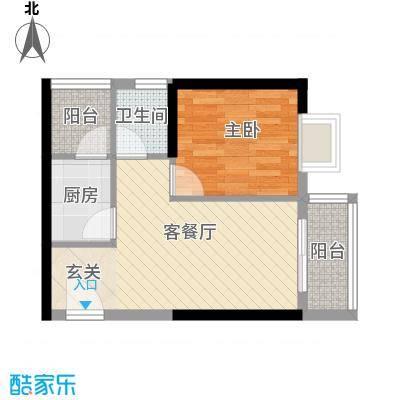江南豪苑47.50㎡F栋03、04单位户型1室1厅