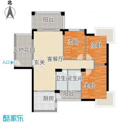 江南豪苑123.54㎡二期B栋02户型3室2厅2卫