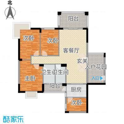 江南豪苑128.53㎡二期A栋01户型4室2厅2卫
