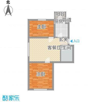 三江紫香园66.14㎡A6614-68户型2室2厅1卫