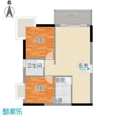 美岸栖庭74.68㎡龙华阁B2户型2室2厅1卫1厨