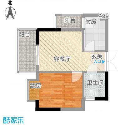 翠堤湾44.40㎡A2、D5栋标准层户型1室1厅1卫