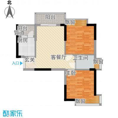翠堤湾76.20㎡F4栋标准层户型2室2厅1卫