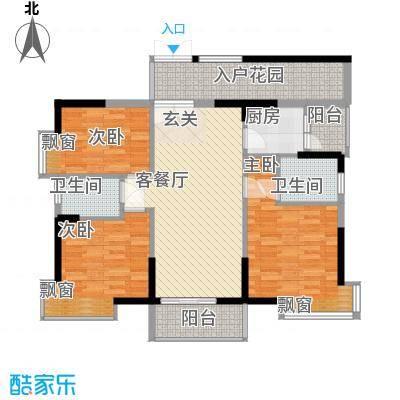 翠堤湾15.00㎡A1、D1栋朝南标准层户型3室2厅2卫