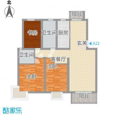 红豆花园124.00㎡B户型3室2厅2卫