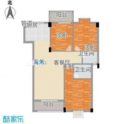 川海友邻12.00㎡3#B户型3室2厅2卫1厨
