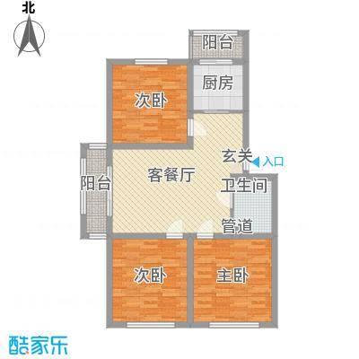 中毫鸿泰公馆1户型3室1厅1卫1厨