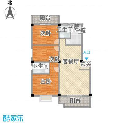 古庄新城11.50㎡18#楼1-5层287号02单元户型3室2厅2卫1厨