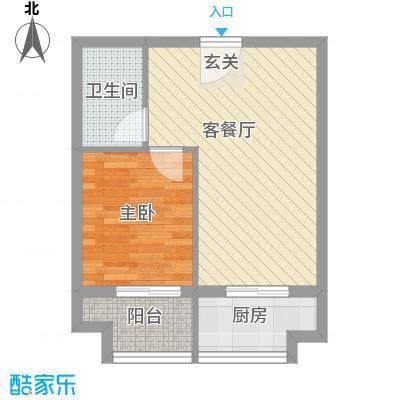 雅苑东方1户型1室1厅1卫1厨