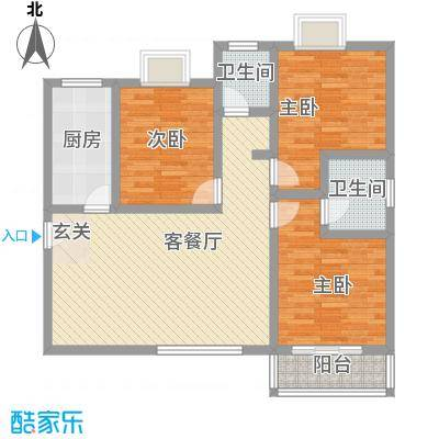 嘉冠尚城116.00㎡D户型3室2厅2卫1厨