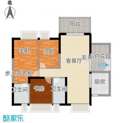 中天彩虹城121.88㎡F6户型3室2厅2卫