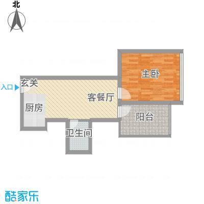 金东国际58.34㎡A9户型1室2厅1卫1厨
