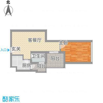 金东国际56.25㎡A3户型1室2厅1卫1厨