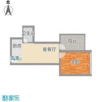 金东国际56.33㎡A7户型1室2厅1卫1厨