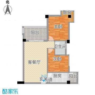 翡翠城C栋02户型2室2厅1卫1厨