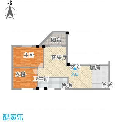 东方新天地大厦115.65㎡01户型2室2厅1卫