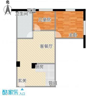 东方新天地大厦3.70㎡04户型2室2厅1卫