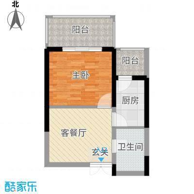 新一代北城国际5.78㎡A4户型1室1厅1卫1厨
