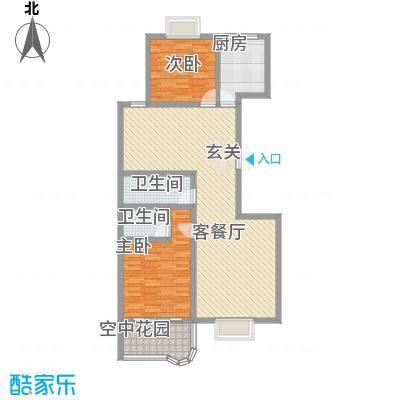 现代逸城125.10㎡15/16号楼1/2单元奇数层户型2室2厅2卫1厨