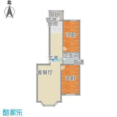 林海华庭81.28㎡1、2号楼1单元-2户型2室2厅1卫1厨