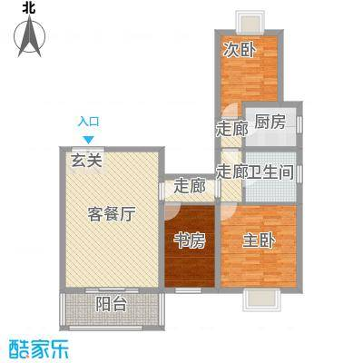 矩阵一期114.70㎡13#三居户型2室1厅1卫1厨