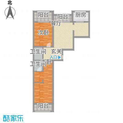 金兴星海国际138.00㎡A6户型2室2厅2卫1厨