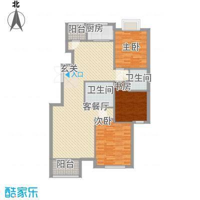 风荷曲苑户型3室