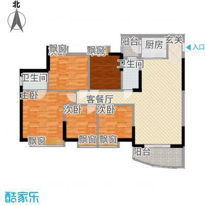 海天阳光花园126.16㎡1单元02户型5室2厅2卫