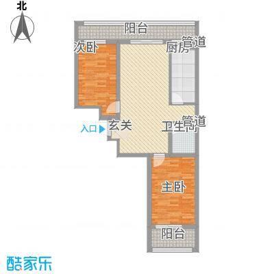 明湖天地E座3单3-14层户型2室2厅1卫1厨