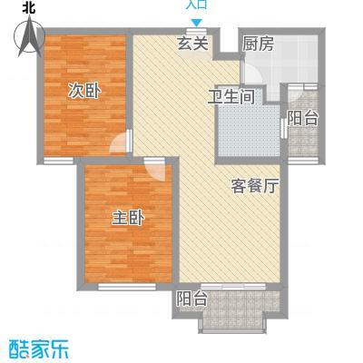 水岸华庭1.73㎡6#户型2室2厅1卫