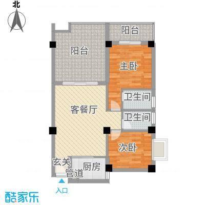 乐活小镇88.00㎡20号楼-D15户型2室2厅2卫1厨