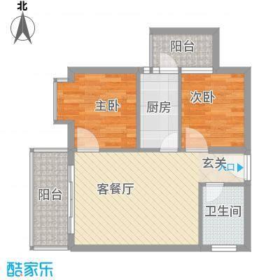 惠丰城6.68㎡B户型2室2厅1卫1厨