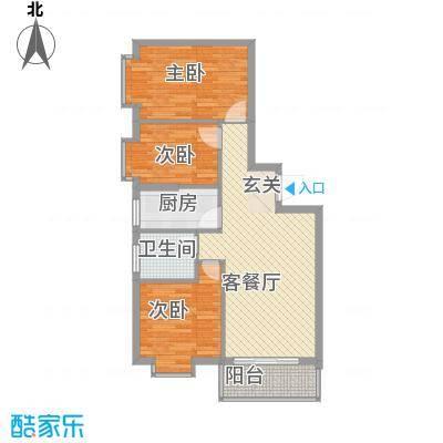惠丰城C户型3室2厅1卫1厨