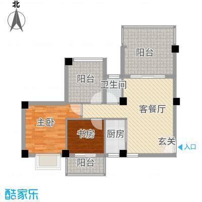 乐活小镇87.00㎡7-13号楼-B01户型2室2厅1卫1厨