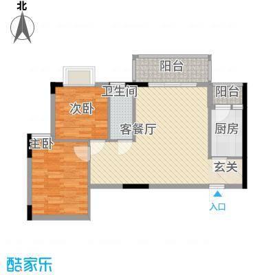 枫叶雅堤78.22㎡住宅D户型2室2厅1卫1厨