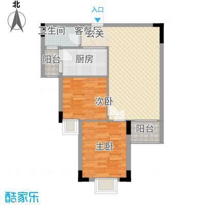 枫叶雅堤75.36㎡住宅F户型2室2厅1卫1厨