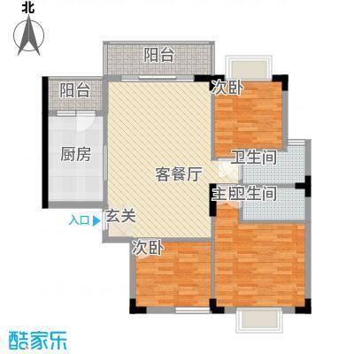 枫叶雅堤1.30㎡住宅B户型3室2厅2卫1厨