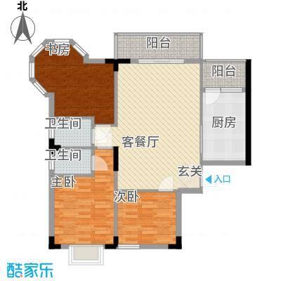 枫叶雅堤1.67㎡住宅A户型3室2厅2卫1厨