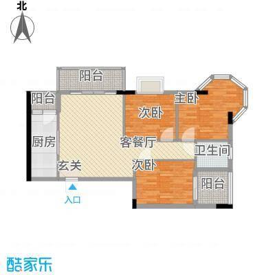 枫叶雅堤6.70㎡住宅E户型3室2厅1卫1厨