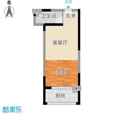 香缤公寓51.78㎡E户型1室1厅1卫