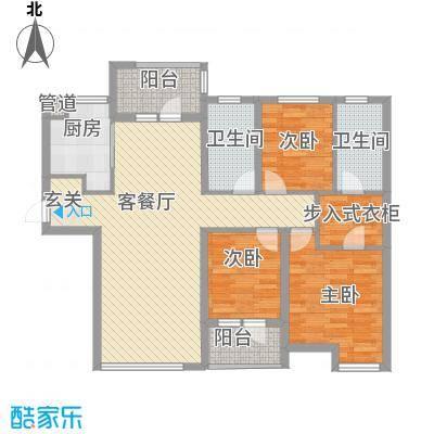 大连天地121.00㎡T17高层户型3室2厅2卫1厨