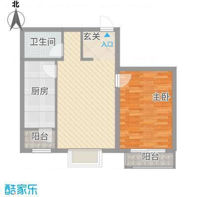 矩阵一期63.83㎡三期19#1单元户型1室1厅1卫1厨