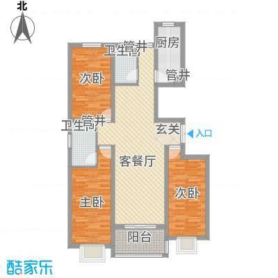 香水湾124.00㎡D户型3室2厅2卫1厨
