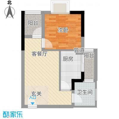 海志公园道一号46.70㎡户型1室2厅1卫
